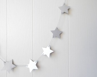 Silver Star Garland / Party Decor / Photo Prop