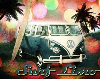 Surf Limo - Beachy Groovy Print -  8 X 10