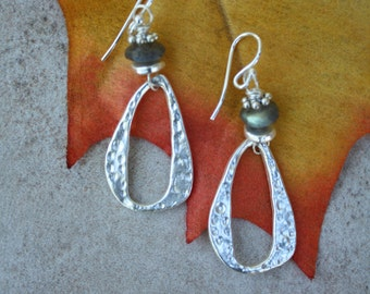 16  Labradorite and silver charm earrings, sterling ear wires, boho, artisan