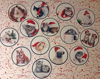 Set of 14 pretty labels round stickers with images of animals for Christmas