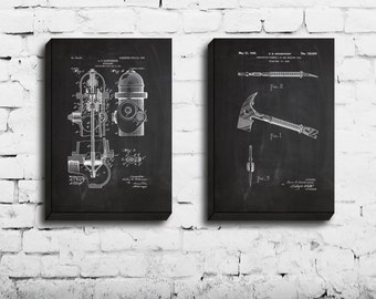 CANVAS, Firefighter Patent, Firefighter Poster, Firefighter Art, Firefighter Decor, Firefighter Wall Art, Firefighter Blueprint,
