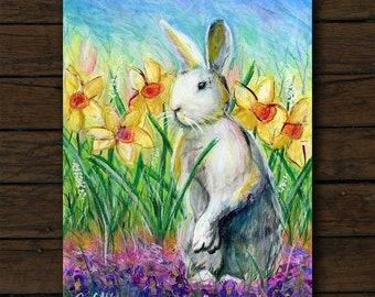 Bunny Rabbit mixed media artwork archival giclée print on cradled board with edges