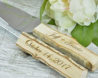 Wedding Cake Serving Set Cutting Set Knife Set Wedding Cake Serving Set Wedding Cake Server Set Natural Wedding Cake Set