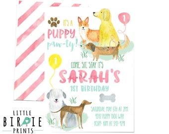 Puppy Birthday Invitation, Watercolor Puppy Dog Birthday Invitation, Girl Dog Birthday Inviation, Dog Invitation Puppy Pawty Invitation Pink