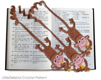 029 Monkey Bookmark - Amigurumi Crochet Pattern PDF file by Zabelina Etsy