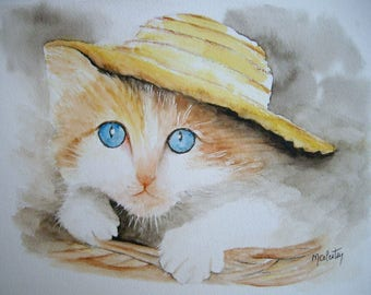 Original watercolor by me in 28x21cm, gift idea for Christmas kitten in her basket