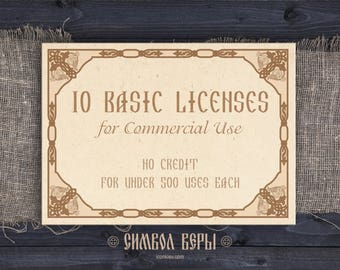 10 Basic Commercial Licenses Bundle for Commercial Use of Digital images, quantity of 1-500 each   Discount Package