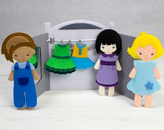 Flat doll, Non paper doll, Dress up doll, Clothes felt doll, Doll with clothes, Doll with wardrobe, Felt doll play set, Felt outfits
