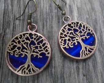 Tree Earrings, Blue Stained Glass Jewelry, Tree of Life, Dangle Earrings, Boho Jewelry, Gift for her, Family Tree Earrings, Nature Inspired