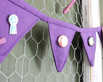 Mini pin banner! Purple pin display in ultraviolet. Purple bunting. Canvas pin banner. Enamel pin display. Ultraviolet gift ideas for her