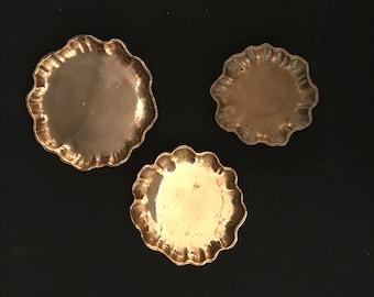 Tiffany Studios Signed 3 Pc. Bronze Graduated Nesting Trays Dishes # 1719
