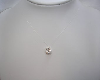 Solitaire Crystal on Invisible Illusion cord Necklace, Simple 8mm Crystal Necklace, Floating Illusion Necklace, CZ18S