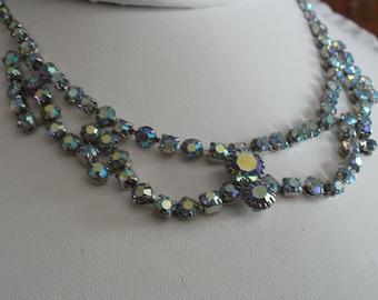 Vintage necklace, Juliana D & E style riveted AB crystal necklace, 1950s necklace,choker necklace, wedding necklace,festoon necklace