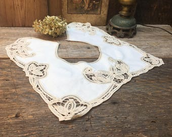 Battenburg Lace Collar/Tea Stained Beige/Victorian Style/Square