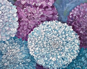 Original Art - Floral Acrylic and Ink Painting Ontario Artist Judy M. Roth