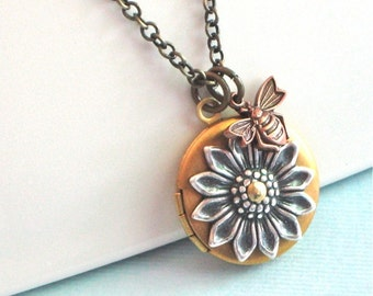 Small Sunflower Locket Necklace - Mixed Metal, Flower Jewelry, Floral Jewelry, Nature Jewelry, Brass Locket, Bee Jewelry