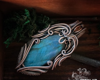 Wire wrapped/Handcrafted unique/One of a kind Copper Pendant with blue labradorite