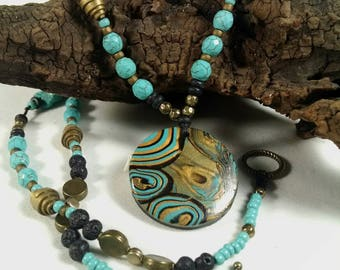 Turquoise Necklace, Long Necklace, Pendant Necklace, Antique Gold and Turquoise, Knotted with Pendant, Boho Necklace