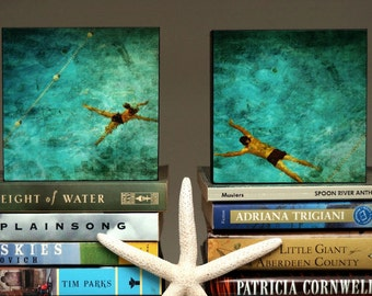 "Gift for Couple, Swimming Pool Art, 4"" x 4"" Art Box Set of Two Swimmers Fine Art Photographs Gift for Husband,Gift for Wife,Gift for Swimmer"