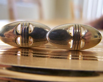"Vintage 70's ""SWANK OBLONG CUFFLINKS"" Gold Toned"