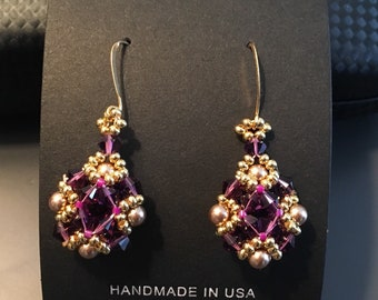 OOAK lady earrings, made for mom, beauty gift, mother gift, burgundy, gold, amethyst earring, business style earrings, business lady earring