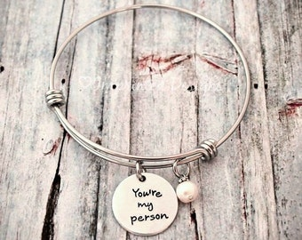 Personalized Charm Bracelet - Wire Bangle - Expandable - Adjustable - Pearl - You're My Person - Hand Stamped Jewelry - Wire Charm Bangle