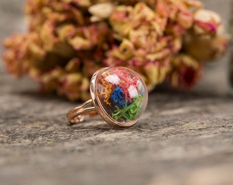 Lichen ring, moss ring, terrarium jewelry, botanical ring, real flower ring, glass orb ring, adjustable ring,