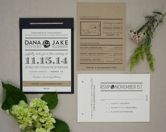 Custom Wedding Invitation Suite - Rustic Elegant - Booklet Wedding Invitations