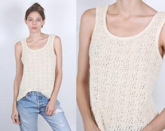 70s Crochet Top // Vintage Sheer Knit Tank Sleeveless Shirt - Medium to Large