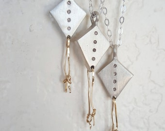 Silver Gold Kite Necklace Gold 12kt. String Kite Sterling Pendant