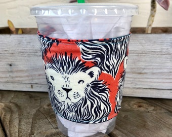 Lion Grande Coffee Cozy Reversible Cup Cozy To Go Cup Sleeve Teacher Gift Frappuccino