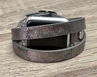 Metallic Pewter Bracelet for Apple Watch Adjustable Chameleon Vegan Jewelry Strap Handmade Apple Watch Band Fashion Apple Watch Bracelet