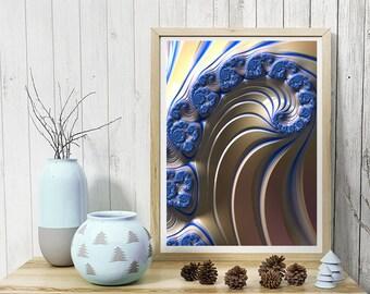 Blue Swirly fractal art print, wall art for home, office, or dorm, archival art prints