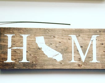 Home - State Sign / State Sign / H (State) ME / HOME with State / Wooden home sign