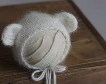 Knit angora bonnet Fluffy bear bonnet Newborn baby hat Knit newborn bonnet Angora bonnet Knit newborn photo prop Bear Bonnet Fluffy bear hat