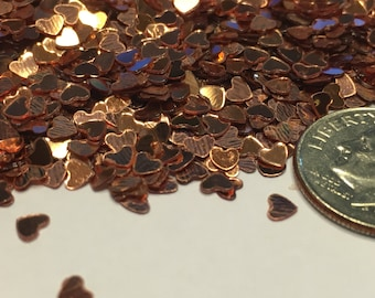 Tiny Rose gold color heart confetti , 3 mm (24)M