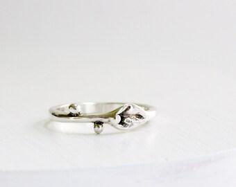 Leaf Ring,Small Leaf Silver Ring