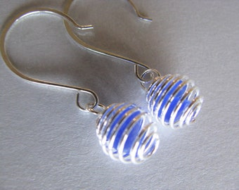 Cobalt Blue Beach Glass Earrings - Tiny Caged Ball Earrings - Beach Glass Jewelry - Holiday Gifts - Mermaid Tears PEI