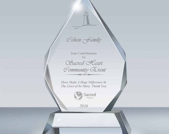 Employee Recognition Crystal Plaque, Pastor & Wife Gift, Ordination Gift, Retirement Gift, Anniversary Gift, Police Gift, A037