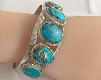 Navajo Turquoise Cuff Bracelet Handmade Old Pawn 5 Turquoise Stones Bezel Set With Rope Accents Sterling Silver