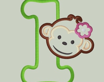 Mod Monkey Girl Applique Design with Number 1