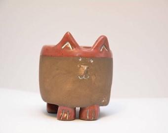 Cat Cactus Pot Ceramic Handmade