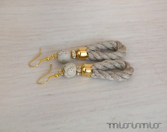 Nautical earrings with linen rope in natural color/ dangle earrings.