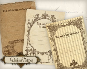 Vintage Style Bookplates ATC 2.5 x 3.5 inch instant download digital collage sheet VD0483