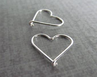 Tiny Heart Earrings Silver, Silver Heart Jewelry, Everyday Earrings, Sterling Silver Earrings, Valentine Earrings, Heart Hoops Silver Wire