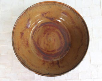 "Large amber serving bowl | 9"" wheelthrown stoneware bowl"