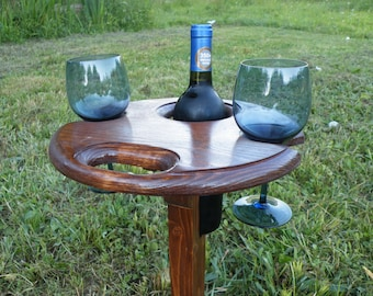 Portable wine table. Great for picnics, wine festivals, camping or just relaxing in the country. An excellent gift for wine lovers !
