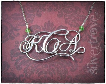 Monogram Necklace, Sterling Silver Monogram Necklace, Personalized Monogram, Three Initial Necklace, Wire Jewelry, Fancy Monogram Pendant