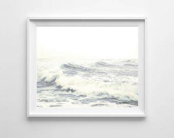 Ocean Waves Photography, PRINTABLE art, Coastal decor, Ocean waves wall art, Large wall art, Ocean decor, Ocean print, beach decor