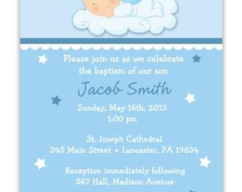 Baby Angel Boy or Girl Baptism Christening Invitation (Digital File )